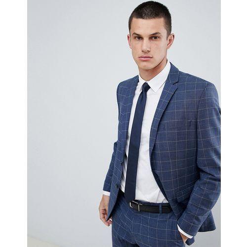 Selected Homme Slim Suit Jacket In Blue Window Pane Check - Navy, kolor szary
