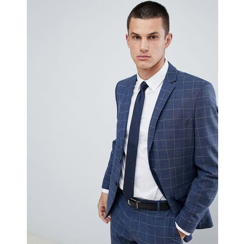 Selected Homme Slim Suit Jacket In Blue Window Pane Check - Navy