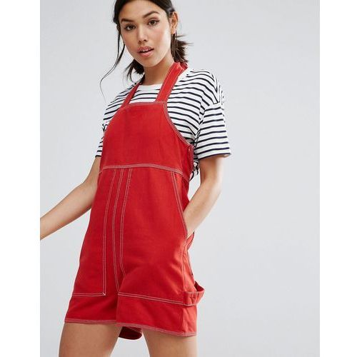 pinafore playsuit with contrast stitch - red marki Asos