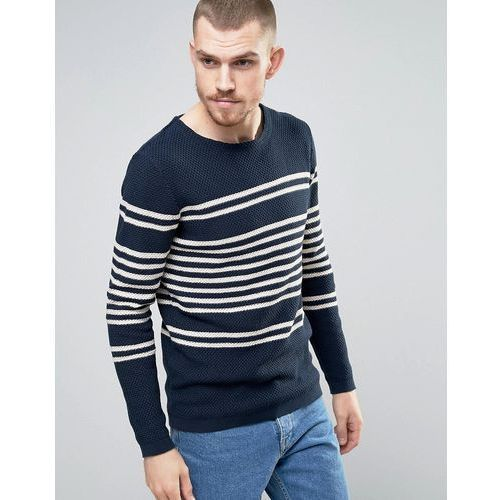 knitted jumper in 100% cotton bretton stripe - blue, Selected homme