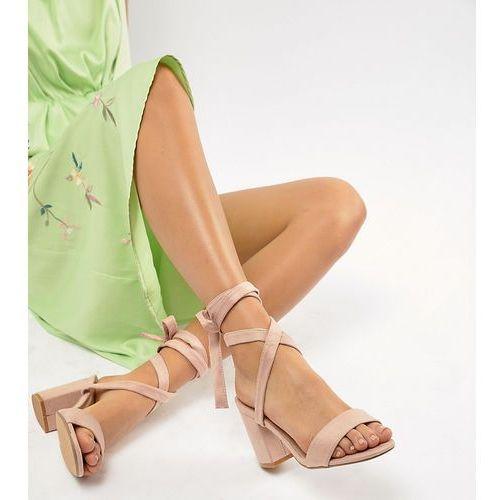 Parklane Wide Fit Tie Leg Block Heeled Sandals - Beige