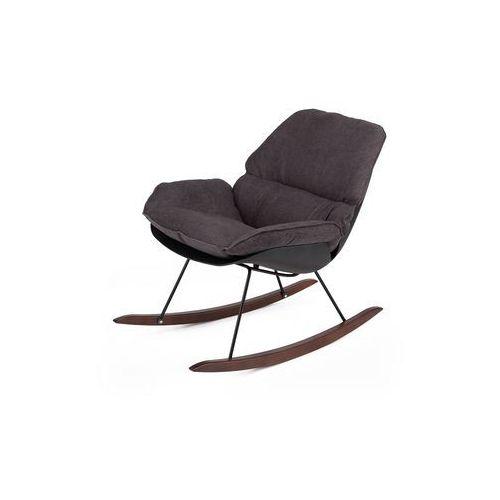 Fotel bujany nowoczesny nino black - tkanina ciemnoszara, płozy bukowe brązowe marki King home