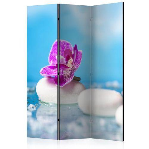 Parawan 3-częściowy - Różowa orchidea i kamienie Zen [Parawan]