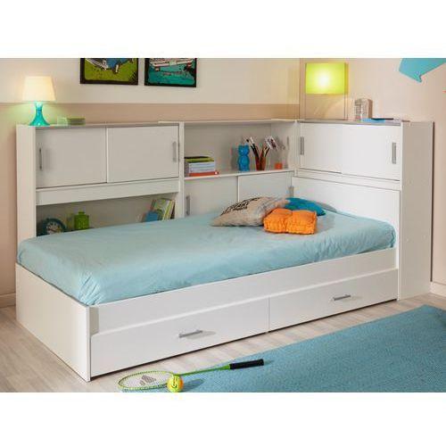 Łóżko BASILE cm z półkami i 2 szufladami modułowe 90 ×190 cm lub 90 × 200 cm - Biały