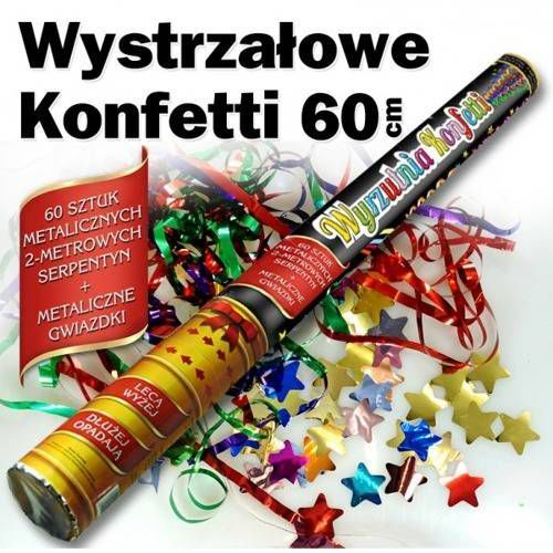 Tuba strzelająca - serpentyny i gwiazdki metaliczne - 60 cm - 1 szt. marki Dp