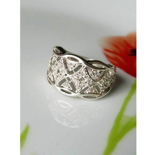 Srebrny pierścionek koszyczek, rozmiar 17, kolor szary