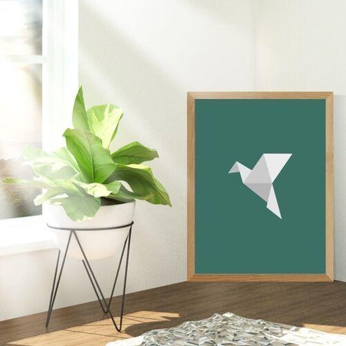 Plakat origami ptak 066