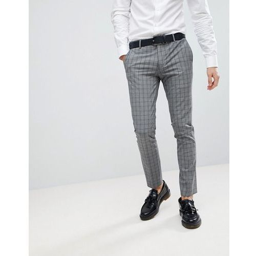 River Island Super Skinny Suit Trousers In Grey And Navy Check - Grey