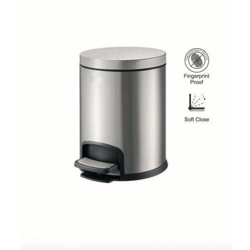 Stella kosz pedałowy premium, okrągły, 5l / srebrny 20.20105