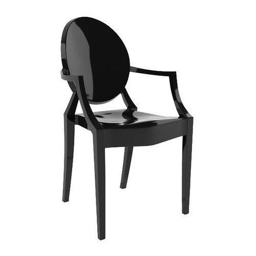 King home Krzesło plastikowe louis czarne - poliwęglan (5900168810679)