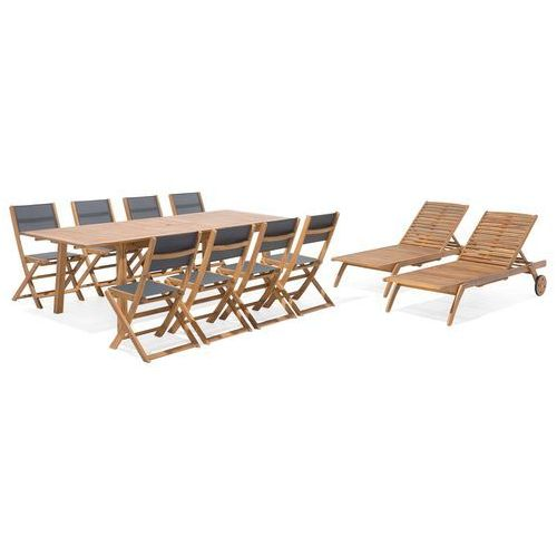 Zestaw ogrodowy drewniany 8-osobowy textilene ciemnoszary 2 leżaki CESANA (4260586354003)