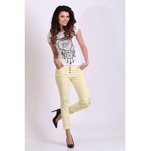 """Spodnie bawełniane beżowe """"model 5211-2"""" - beżowy marki Romaboma"""
