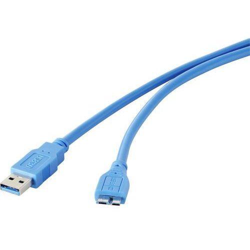 Kabel usb 3.0  1421515, [1x złącze męskie usb 3.0 a - 1x złącze męskie micro-usb 3.0 b], 1.8 m, niebieski marki Renkforce