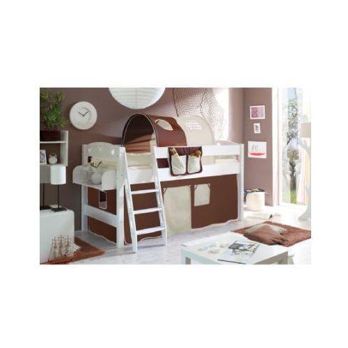 TICAA Łóżko z drabinką KENNY sosna biała/biały-brązowy-beżowy (4250393850478)