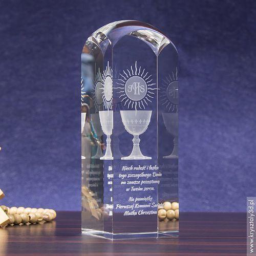 Pamiątka Komunii »hostia i kielich« wysoka • kryształ 3D wysoki, zaokrąglony - produkt z kategorii- Na Pierwszą Komunię dla dziewczynki
