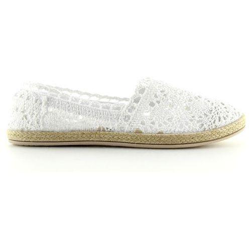 Espadryle koronkowe białe jx57p white marki Buty obuwie damskie