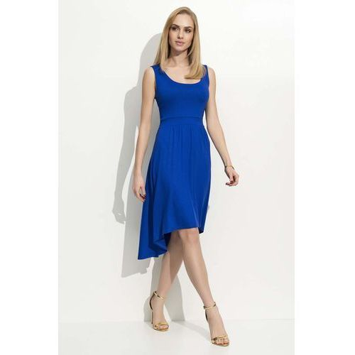Makadamia Chabrowa sukienka asymetryczna na szerokich ramiączkach