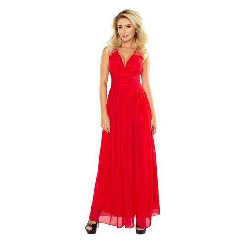 Czerwona Sukienka Wieczorowa Maxi z Dekoltem V, w 4 rozmiarach