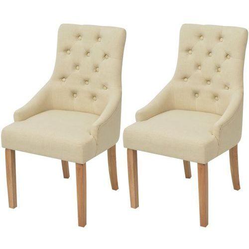 vidaXL Dębowe krzesła do jadalni, tapicerowane tkaniną, kremowe, 2 szt.