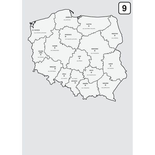 magnetyczna tablica suchościeralna mapa Polski z podziałem na województwa 238