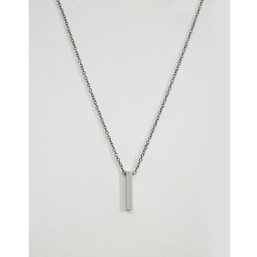 Icon Brand bar pendant necklace in silver - Silver, kolor szary
