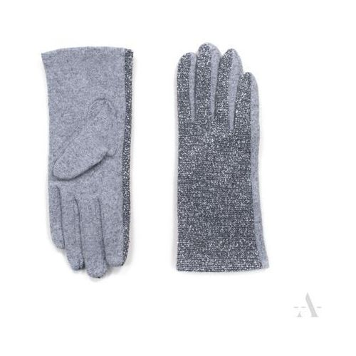 Melanżowe rękawiczki damskie szaro-popielate - szary   popielaty marki Evangarda