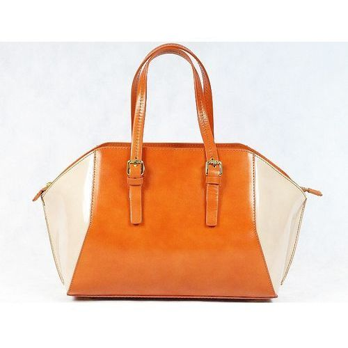 Vera pelle włoska torebka kuferek sórzany camel - brąz