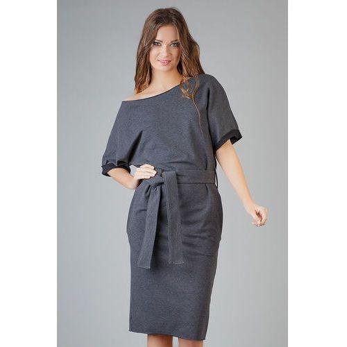 Ciemnoszara dzianinowa prosta sukienka za kolano z wiązanym paskiem, Tessita, 34-46