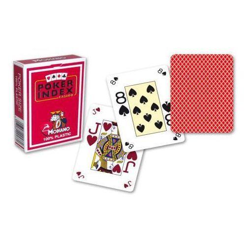 Modiano mini 4 rogi 100% karty plastikowe - czerwone