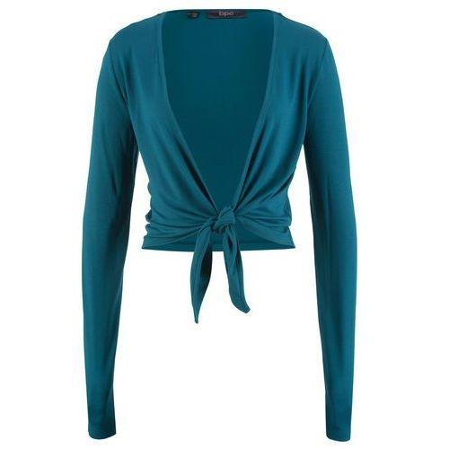 Bolerko shirtowe wiązane, długi rękaw niebieskozielony, Bonprix, 40-58