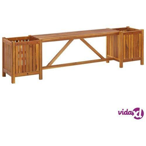 Vidaxl ławka ogrodowa z 2 donicami, 150x30x40 cm, lite drewno akacjowe (8719883722290)