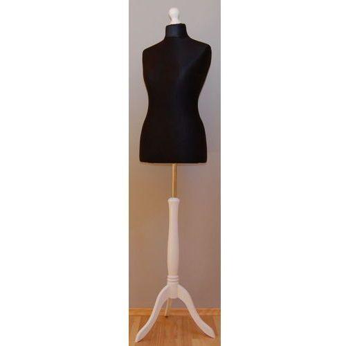 Manekin krawiecki - tors kobiecy krótki czarny - rozmiar 38 na drewnianym, białym trójnogu