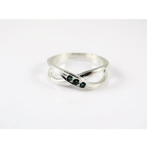 Srebrny pierścionek 925 ZIELONE OCZKA r. 17