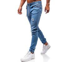 Spodnie jeansowe joggery męskie niebieskie Denley 2022-1, kolor niebieski