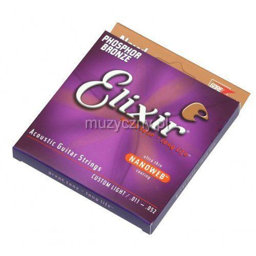 Elixir  16027 phosphor bronze custom light nw struny do gitary akustycznej 11-52