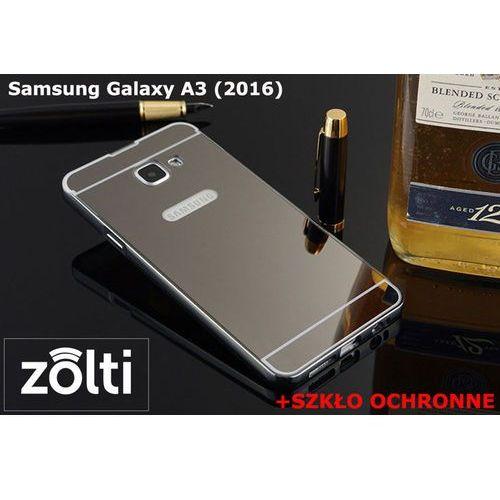 Zestaw   Mirror Bumper Metal Case Czarny + Szkło ochronne Perfect Glass   Etui dla Samsung Galaxy A3 (2016)