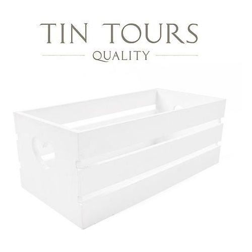Biała drewniana skrzynka 32x16x12h cm marki Tin tours sp.z o.o.