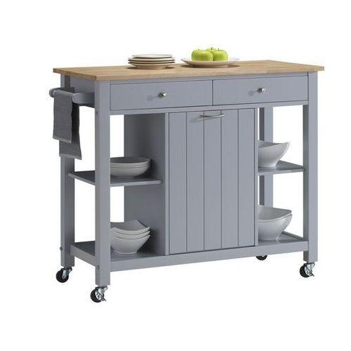 Vente-unique Barek kuchenny na kółkach haley - 1 szafka z drzwiczkami i 2 szuflady - kauczukowiec