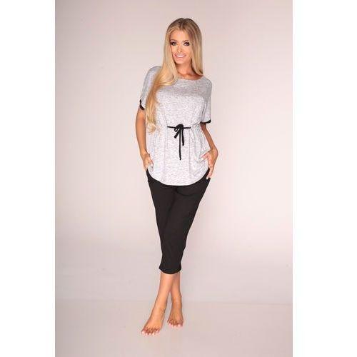 Piżama De Lafense 310 Jacqueline kr/r S-2XL L, szary melange, De Lafense