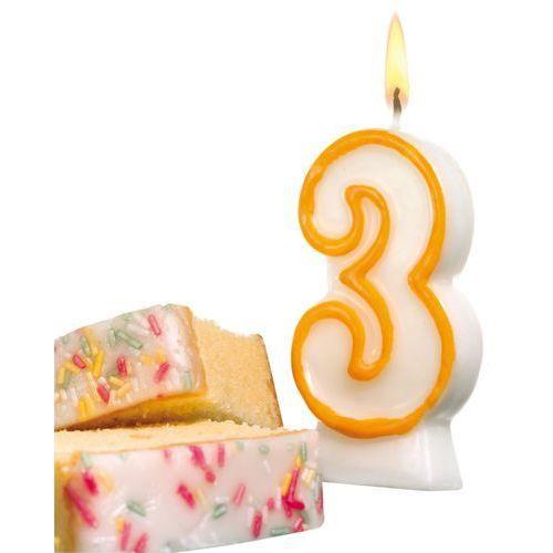 Świeczka na tort urodziny cyfra 3 7,7cm SUSY-CARD - cyfra 3