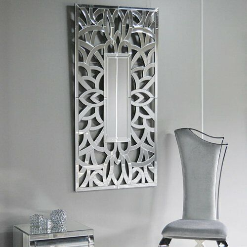 Srebrne lustro glamour prostokątne 75x150 cm M-0518