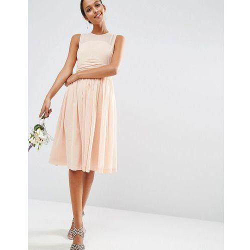 Asos  WEDDING Midi Dress With Rouche Panel Detail - Pink, różowa