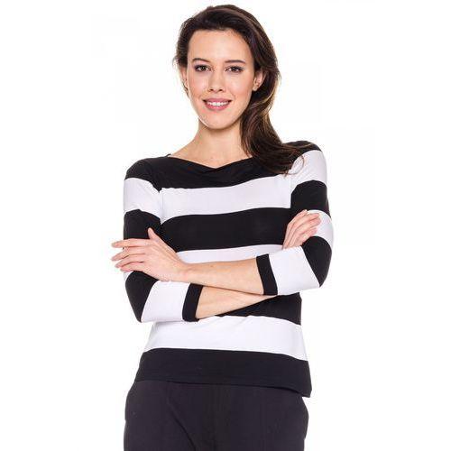 Dopasowana bluzka w czarno-białe paski - Bialcon, kolor biały