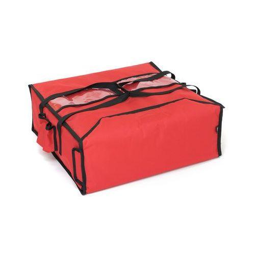 Podgrzewana torba wykonana z kodury na 4 kartony do pizzy o wymiarach 450x450 mm, czerwona z czarną lamówką   FURMIS, T4L P