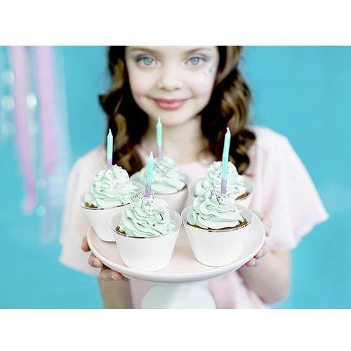 Partydeco Świeczki na tort, tęczowe ombre z brokatem (5900779105966)
