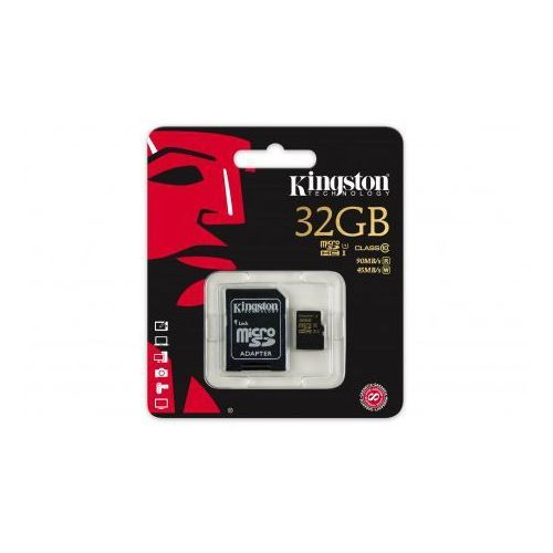 MicroSD Kingston mSDHC 32GB Class 10 UHS-I + adapter