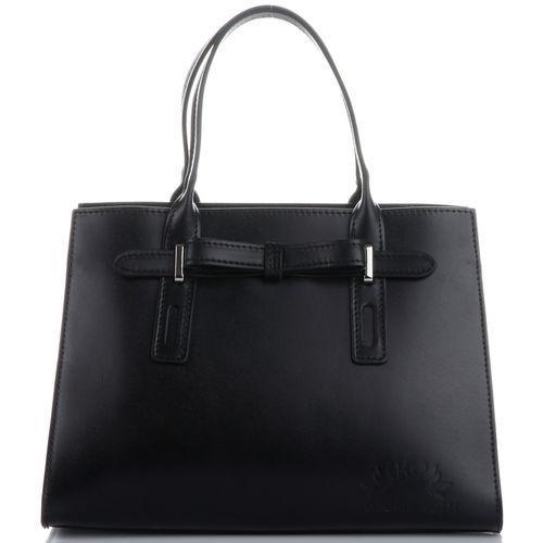 firmowy klasyczny kuferek skórzany z kokardką czarny (kolory) marki Vittoria gotti