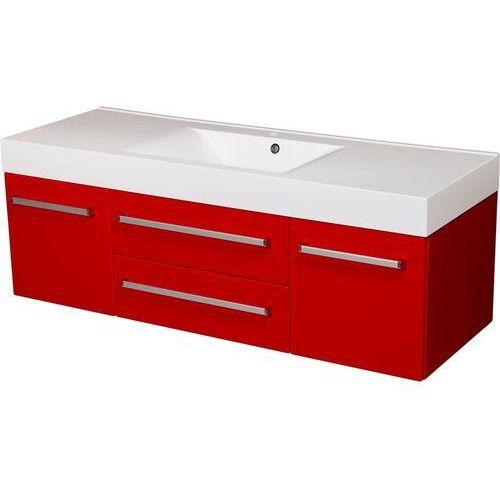 Czerwona szafka wisząca z umywalką 140/50/C2 seria Fokus CZ