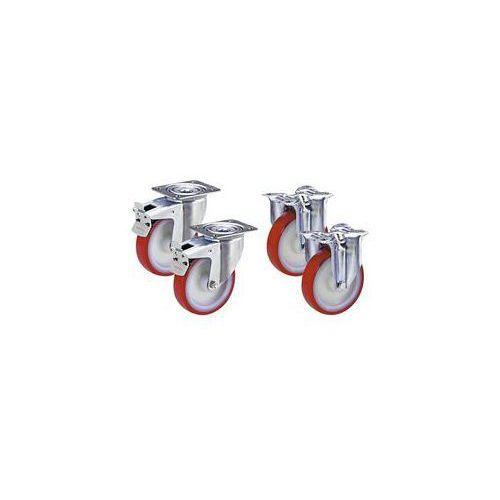 Zestaw z opon poliuretanowych na feldze poliamidowej,2 rolki skrętne z podwójną blokadą i 2 rolki wsporcze marki Tente