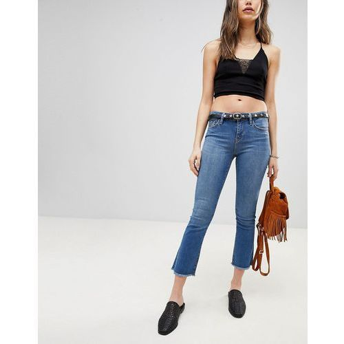 raw cropped straight cut jeans - blue, Free people